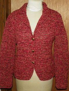 Marisa Christina Burgundy Marled Sweater Jacket Cardigan Knit Top Size Medium #MarisaChristina #Cardigan