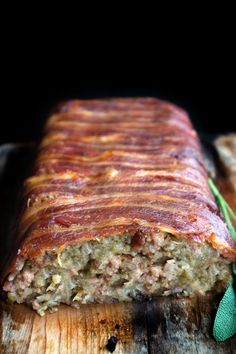 Bacon wrapped any stuffing/dressing would be delicious. Bacon Wrapped Sage & Sausage Stuffing - Make the stuffing the star of the show with this recipe from Erren's Kitchen Sage Sausage, Sausage Stuffing, Bacon Sausage, Homemade Stuffing With Sausage, Turkey Stuffing Recipes, Bacon Bacon, Turkey Sausage, Xmas Food, Christmas Cooking