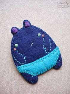 monster in underwear pin by dushky | #pin #brooch #blue #monster #underwear #handmade #dushky #felt