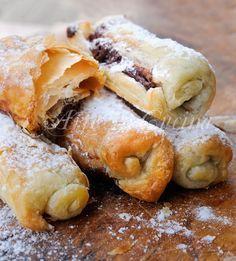 Sigari dolci di sfoglia alla nutella ricetta veloce vickyart arte in cucina