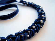 LYSM deSign:  DIY statement necklace  blue cord and silver beads  made by lici