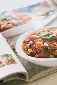 Fall, football games, and chili season is JUST around the corner. Here's a delicious, hearty, bean-less chili recipe made in the slow cooker with ground chicken, ground beef and sweet potatoes – the perfect combination from Juli Bauer's Paleo Cookbook.        This might be the easiest slow cooker chili recipe I've ever made because it's very little prep! Just throw all the ingredients into the slow cooker – no need to brown the ground meat or any of the other ingredients first. After the…