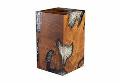 Glitz Side Table, Teak Wood/Frosted Resin