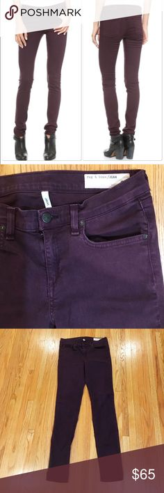 """🎉 HP!! 🎉 rag & bone plum purple skinny jeans Awesome plum wine purple colored skinny jeans from rag & bone. Gently worn, no condition issues. 5 pocket style. Cotton/tencel/spandex. Inseam is about 29.5"""". Front rise is 9"""". rag & bone Jeans Skinny"""