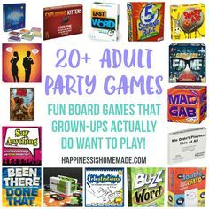 20 Fun Board Games for Adults - Party Time! These 20 board games are the most fun party games for adults! Game night doesn't have to be boring with these awesome adult party games that grown-ups will actually WANT to play! Game Night Parties, Slumber Party Games, Fun Party Games, Adult Party Games, Birthday Party Games, Adult Games, Ideas Party, Adult Game Night Party, Adult Fun