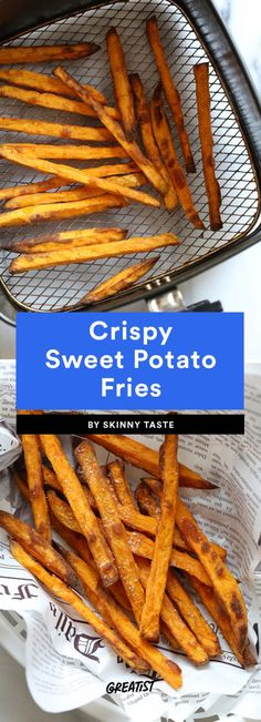 Crispy Sweet Potato Fries  We'd bet regular fries are one of the first things people try to make after buying an air fryer. After all, isn't that half the reason you bought it?! After that's out of your system, try your hand at sweet potato fries. Toss slices with salt, garlic powder, black pepper, paprika, and two teaspoons olive oil (yep, that's it!) before adding them to the fryer.