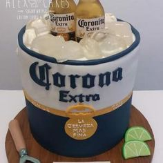 Chocolate cake dulce de leche & Rum, covered in fondant, all handcrafted details…. Corona Cake, Corona Beer, Modelo Beer, Beer Birthday Party, Pull Apart Cake, Cake Models, Beer Bucket, Two Tier Cake, Occasion Cakes