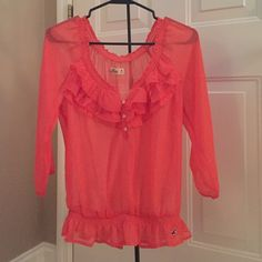 Hollister blouse Beautiful, flattering, and sheer coral blouse from Hollister. Size M. Hollister Tops Blouses