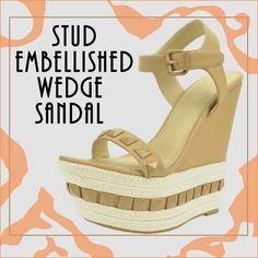 Poetic : Stud Embellished Sky-High Wedge Sandal Perfect ensemble with shorts or breezy maxi @FabRebel.com #shoes #wedge #sandals #trendy #studded #espadrille #spring2015 #neutral #camelcolor #nudecolor #stylishshoes #shoelover #prettylook #shoesfashion #iloveshoes #perfectpair #fabrebel