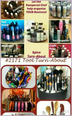 Tools, spices, polishes, and pens ! Oh the many uses for our Pampered Chef turn-abouts! Www.pamperedchef.biz/meganhartlen