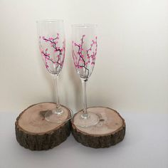 Hey, I found this really awesome Etsy listing at https://www.etsy.com/uk/listing/513818710/hand-painted-champagne-flutes-cherry