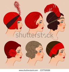 Flapper girl: Set of classic 1920's hairstyles and hats. Vector illustration.  - stock vector