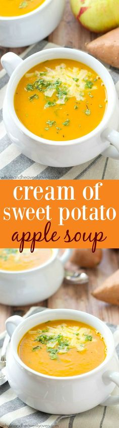 Velvety-smooth and loaded with sweet potato and apple flavors, this fall-flavored cream soup is the ultimate warm-up on a chilly day! @Sarah | Whole and Heavenly Oven