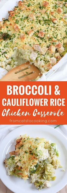A healthy and cheesy broccoli and cauliflower rice chicken casserole that is perfect for dinner and makes great leftovers. Gluten free, grain free & paleo! // http://isabeleats.com