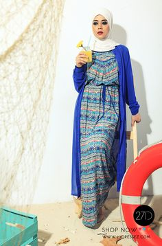 Summer hijab maxi dress with long chiffon cardigan for a perfect look