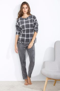 women'secret | Productos | Pijama largo polar de cuadros