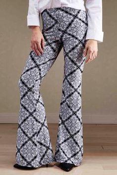 tile print flare pants