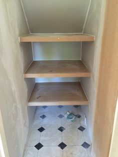 Under Stairs cupboard plastering and shelves Under Stairs Cupboard Storage, Storage Under Staircase, Shelves Under Stairs, Closet Under Stairs, Hall Cupboard, Stair Shelves, Airing Cupboard, Cupboard Shelves, Cupboard Design