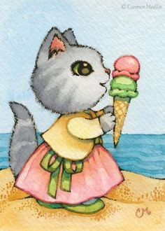 Art 'Ice Cream at the Beach ACEO' - by Carmen Medlin from Sold Art