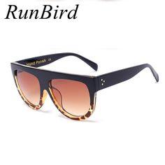 RunBird Oversize Sunglasses Women Brand Shades Men Retro Flat Top Cat eye  Glasses Sunglass Female Oculos de sol feminino R100 432400591a