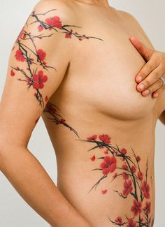 cherry blossom tattoos for women | The Tattoo Artists – Joey Pang – Freehand Cherry Blossoms & Koi 2