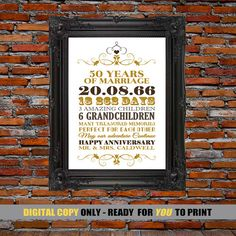 50th Anniversary Gift 50 Years Of Marriage By Blingprints