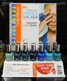 Sally Hansen Salon Under The Sea nail color collection - because mama needs to match her nails to the birthday decor!