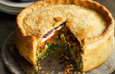 5 Veggie Pie recipes including - Butternut squash, spinach and goat's cheese pie with cheesy pastry