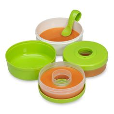 It's easier than ever to bring your homemade baby food on the  road with the Baby Brezza Travel Meal Set (in orange, yellow and green). This storage system includes 2 storage containers, 2 bowls, and  a travel spoon, which all nests together for spill-proof travel. $14.99