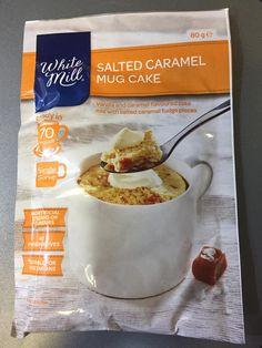 White Mill Salted Caramel Mug Cake from Aldi Salted Caramel Fudge, Oatmeal, Vanilla, Diet, Mugs, Breakfast, Cake, Food, Kuchen