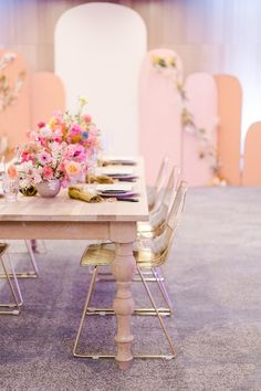 Colorful & Vibrant Party Inspiration at The W Hotel in Beverly Hills - Perfete Long Table Wedding, Wedding Reception Seating, Wedding Table Settings, Diy Party Decorations, Reception Decorations, Diy Crafts Games, Gold Chairs, Lobby Furniture, Plywood Furniture