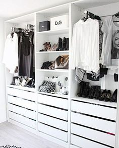 Add style and storage space to your bed room with these open closet designs STYLECASTER Wardrobe Closet, Master Closet, Closet Bedroom, Closet Doors, Pax Closet, Open Wardrobe, Small Walk In Wardrobe, Walk In Closet Ikea, Closet Wall