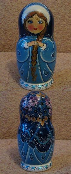 russian nesting doll in blue winter attire