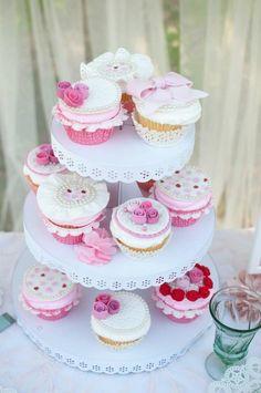 Vintage Rose Tea Party Cupcakes