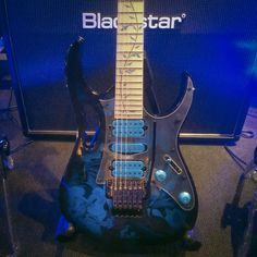 Ibanez Steve Vai Signature Premium JEM77P in Blue Floral Pattern finish. #ibanez #stevevai #guitar #electricguitar #blackstar #amplifier #guitaramp