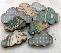 CLOUD EMBELLISHMENTS INSPIRATION - my handmade clouds - collaged with vintage maps and ephemera and cool papers (ARTchix Studio):
