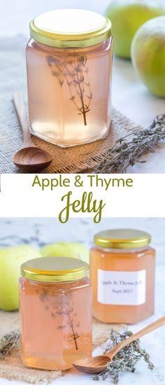 Homemade Apple Jelly - Easy to make! Homemade apple jelly with thyme is a delicious accompaniment to a traditional roast, or add a spoonful to a casserole for a hint of sweetness and extra flavour. Jelly Recipes, Dessert Recipes, Lunch Recipes, Yummy Recipes, Sweet Desserts, Recipes Dinner, Oxtail Recipes, Cooker Recipes, Apple Jelly