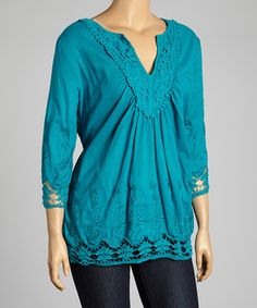Look at this #zulilyfind! Blue Embroidered V-Neck Top - Plus by Simply Irresistible #zulilyfinds