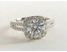 1.74 Carat Diamond Split Shank Halo Diamond Engagement Ring | Blue Nile Engagement and Wedding Rings