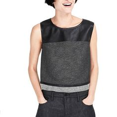 Armani Exchange Top Awesome top in tweed and faux leather. Perfect for work or a night out. Armani Exchange Tops