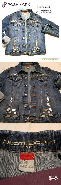 Studded denim jacket This studded denim jacket does not look like the rest. Stand out from the jean jacket crowd with these studds. Looks great fitted or oversized.  In great condition, barely worn. 18in bust, 20in from shoulder, 26in sleeve. 2 Cute pockets up top and 2 pockets on bottom. Let me know if you have any questions. All prices negotiable please make an offer. boom boom jeans Jackets & Coats Jean Jackets