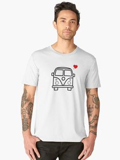 Attention VW lovers our there - grab a tee and show your love for the classic bus! The perfect design for VW Bus/Camper lovers! Bus Camper, Vw Bus, Love S, Tshirt Colors, V Neck T Shirt, Looks Great, Classic T Shirts, Fitness Models, Composition
