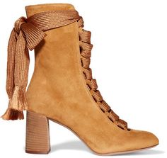 Chloé's boots are chic and surprisingly versatile - wear them with everything from dresses to denim. Made in Italy from soft and supple mustard suede, they are set on an on-trend block heel that offers height as well as day-long comfort. We like how the lace-up front adds to the '70s feel.