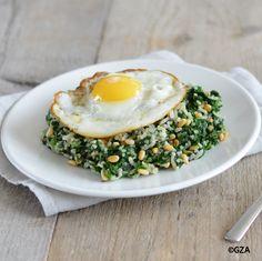 Spinazie met rijst en pijnboompitten. #glutenvrij #koemelkvrij #lactosevrij #tarwevrij #sojavrij #fructosearm #notenvrij