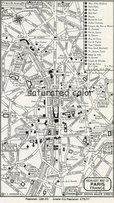Paris France Map  Vintage 1950s Original Heart by SaturatedColor, $6.00