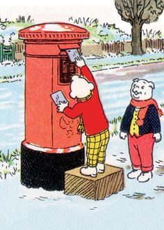 Rupert the bear  posting christmas cards