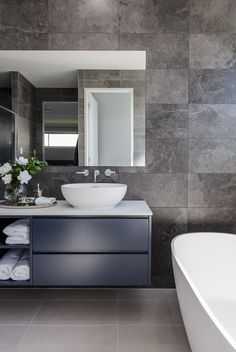 Ensuite - Discover our Athena 349 on display at North Harbour Estate, Burpengary QLD Bathroom Layout, Modern Bathroom Design, Bathroom Interior Design, Stone Bathroom, Small Bathroom, Bedroom Cupboard Designs, Rustic Bathrooms, Bathroom Styling, Home Decor Kitchen