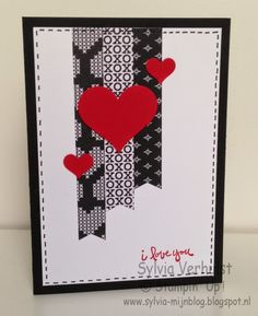 Stampin' Up! ... handmade Valentine card from My Freubelhoekie ... black hearts theme printed washi tapes with fishtail ends ... red punched hearts ... faux stitching around the edges ... like it!