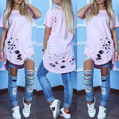 Trendy Holey Dip Hem Loose T-shirt Dress