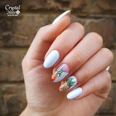 Tropical nails 🍍 www. Nailart, Crystal Nails, Hoe, Nail Artist, Manicure, Nail Designs, Crystals, Tropical, Sculpted Nails